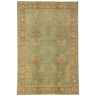 Contemporary Turkish Oushak Rug With English Country Style - 6′7″ × 10′ For Sale