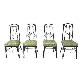 Vintage Lacquered & Patterned Seat Dining Chairs - Set of 4