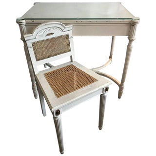 Maison Jansen Vanity or Desk. Louis XVI Fluted Legs Cane Back Gilt and Bronze Medallions Chair...Glass Top!