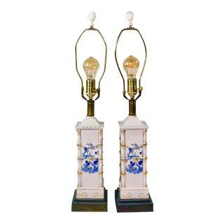 1940s Vintage Japanese Porcelain Lamps - A Pair For Sale