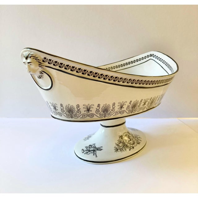 A stunning white and black, ceramic pedestal bowl made by the Italian company Mottahedeh. Inspired by Greek & Roman art,...