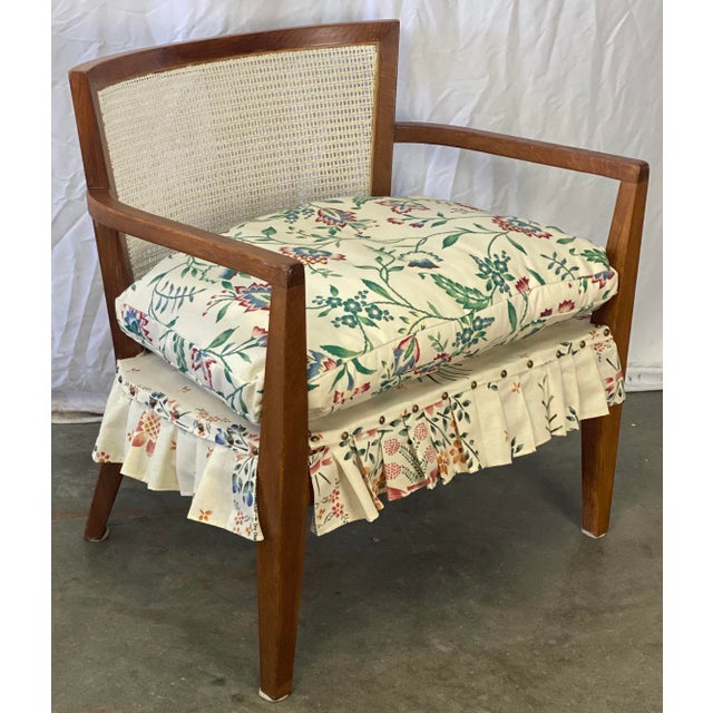 Shabby Chic Mid Century Modern Walnut Caned Birdseye Chair For Sale - Image 3 of 9
