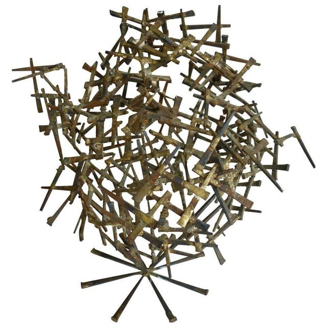 1970s Brutalist Abstract One of Kind Tabletop Nail Sculpture For Sale - Image 11 of 11