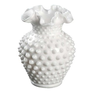 "Vintage Hobnail Milk Glass 5 1/2"" Flared Vase For Sale"