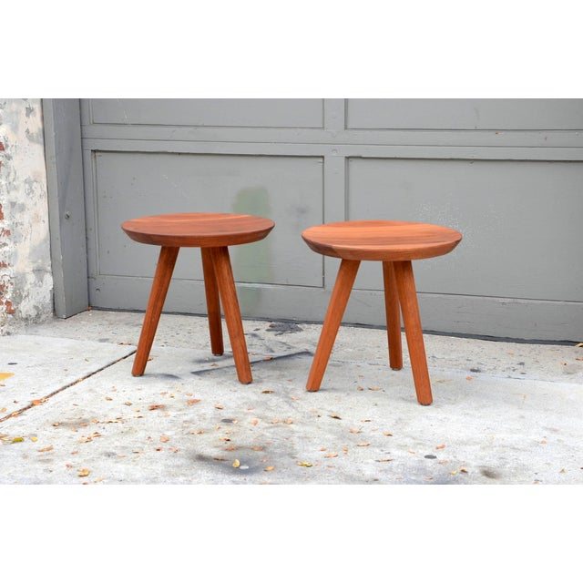 Pair of Sturdy Tripod Carved Wood Stools in the Style of Charlotte Perriand For Sale In Los Angeles - Image 6 of 6