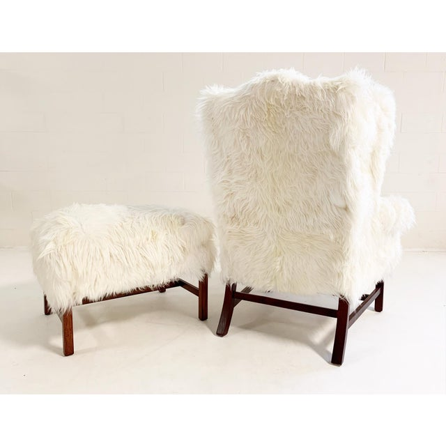 Late 20th Century Large Wingback Chair and Ottoman in Angora Goatskin For Sale - Image 5 of 9