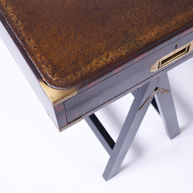 19th Century English Campaign Style Desk with a Faux Tortoise Shell Finish For Sale In West Palm - Image 6 of 11