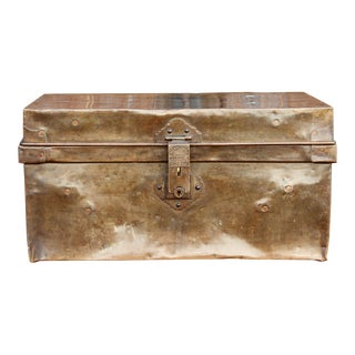 Mid 20th Century Brass Traveling Trunk For Sale