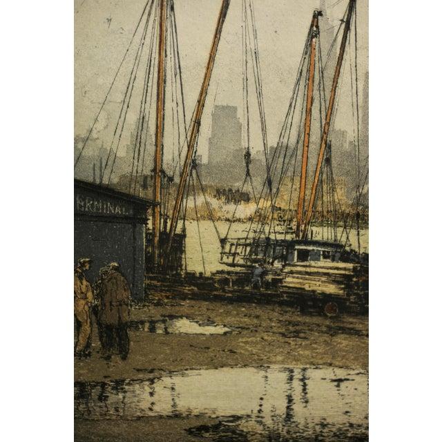 Luigi Kasimir -Queensborough Bridge New York-Original Color Etching C.1936 For Sale In Los Angeles - Image 6 of 10