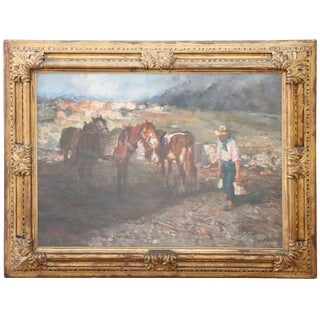 19th Century Important Italian Artist Oil Painting on Canvas, Horses at Rest For Sale