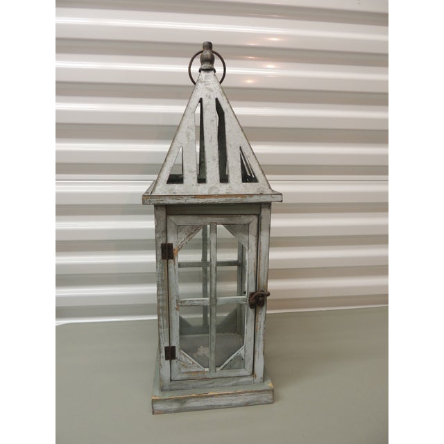 Late 20th Century Tall Coastal Weathered Lantern For Sale - Image 5 of 5