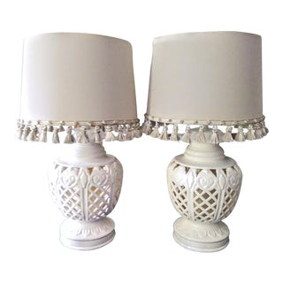 A Pair of Massive Chinoiserie Cutout Palm Beach Regency Table Lamps W/ Fringe Linen Shades For Sale