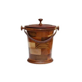 Teak Parquetry Ice Bucket With Leather Handle For Sale