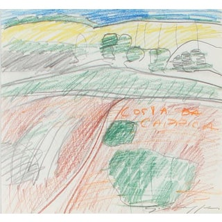 Gary Lee Shaffer Colorful Abstract Expressionist Colored Pencil and Graphite Landscape Drawing 1971 For Sale