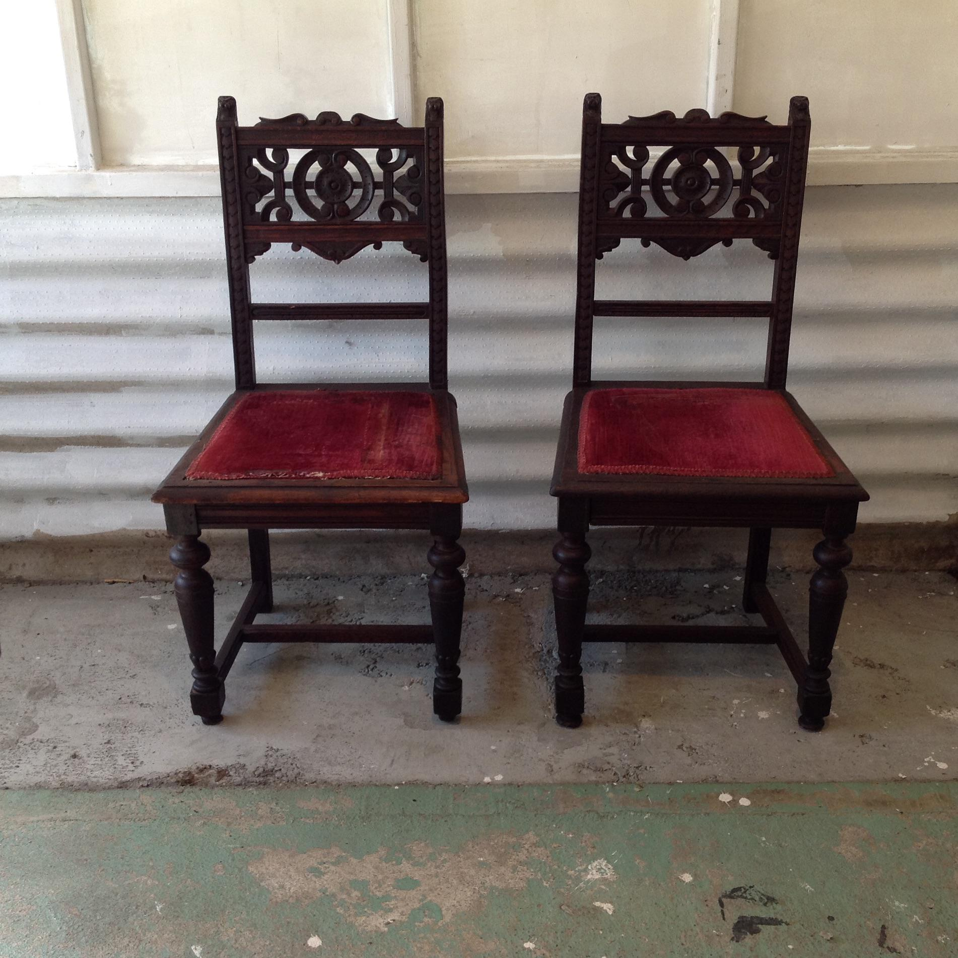 1800u0027s Hand Carved Chairs   A Pair   Image 2 ...