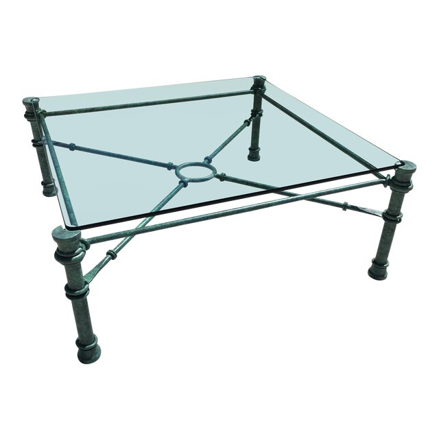 Mid-Century Modern Patinated Bronze Base Heavy Glass Top Coffee Table After Giacometti For Sale