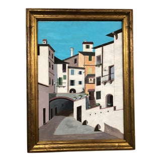 Vintage Mid-Century European or Latin American Village Scape Painting For Sale