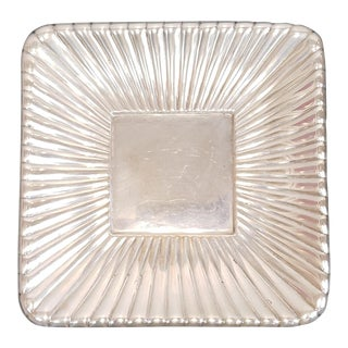 "Sterling Silver Reed & Barton Trajan Pattern Holloware Gadrooned 8 3/4"" Square Plate Disc 1960s 12.41 Troy Oz For Sale"