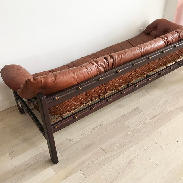 French 1960s Jean Gillon Brazilian Rosewood Leather Sling Sofa by Italma For Sale - Image 3 of 9