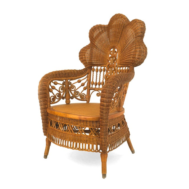 American Victorian Natural Wicker Arm Chair For Sale - Image 4 of 5