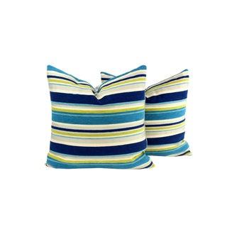 Italian Striped Silk Velvet Pillows - A Pair For Sale