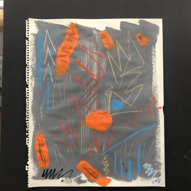Abstract Painting With Pastel 1990s For Sale - Image 9 of 11