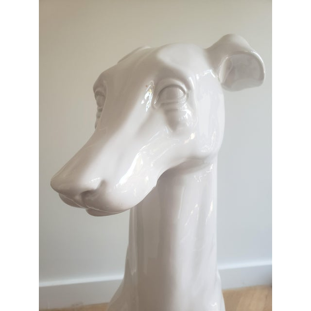 White Mid-Century Hollywood Regency Style Glazed Ceramic Greyhound Whippet Statue For Sale - Image 8 of 12