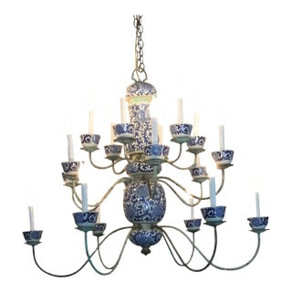 19th C. Blue and White 18 Light Tea Cups Chandelier For Sale