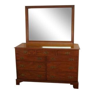 1960s Henkel Harris Solid Walnut Dresser With Mirror For Sale
