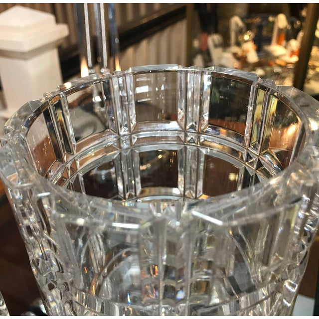 Transparent 1950s Mid-Century Modern Cut Crystal Cylinder Vases - a Pair For Sale - Image 8 of 11