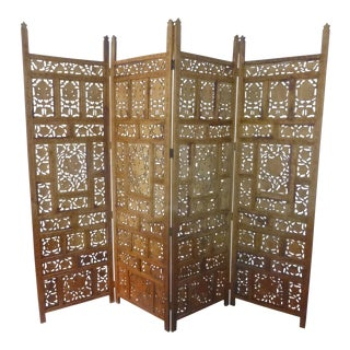 1970s Distressed Anglo-Indian Teak Hand Carved 4 Panel Screen For Sale