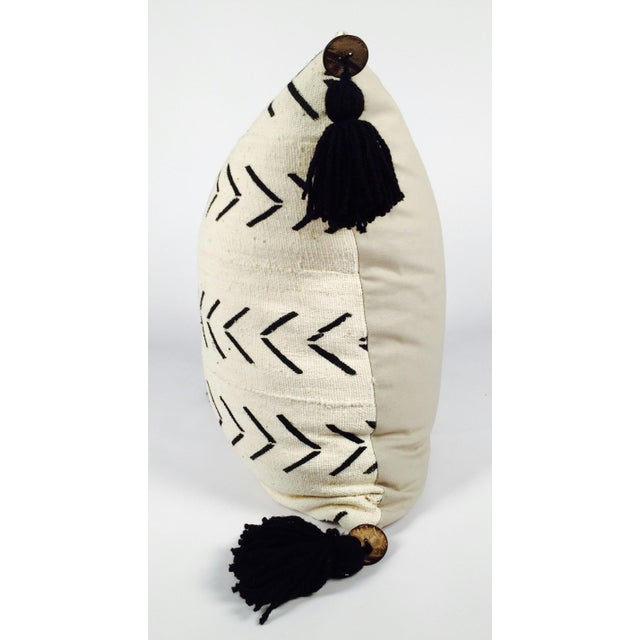 "22"" Pompom Black & White Mud Cloth Pillow - Image 4 of 5"