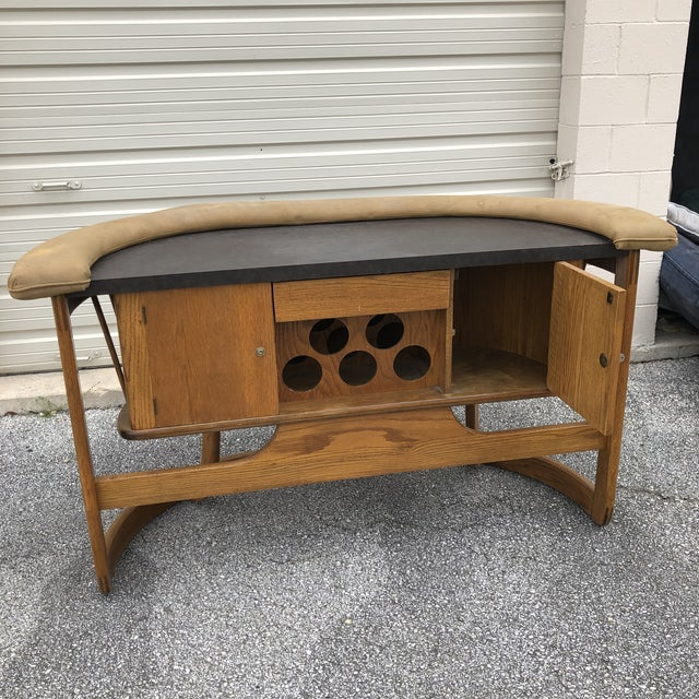 Wood Danish Mid Century Modern Oak Bar For Sale - Image 7 of 13