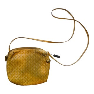 Bottega Veneta Intrecciato Tan Cross Body Bag For Sale