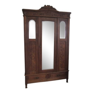 19th Century Belgian Hand-Carved Oak Armoire For Sale