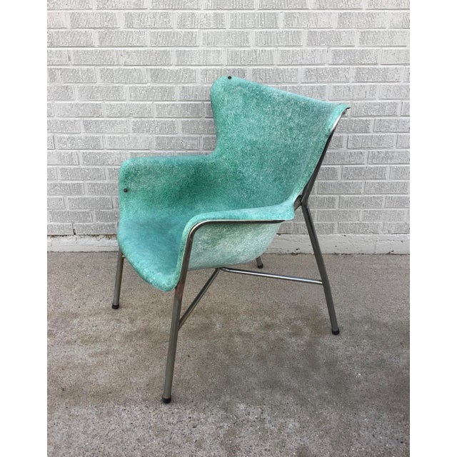 Mid Century Modern Fiberglass Aqua Green Chair With Chrome Legs For Sale In Denver - Image 6 of 13