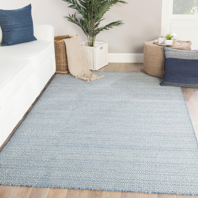2010s Jaipur Living Eulalia Handmade Geometric Blue/ Ivory Area Rug - 2′ × 3′ For Sale - Image 5 of 6