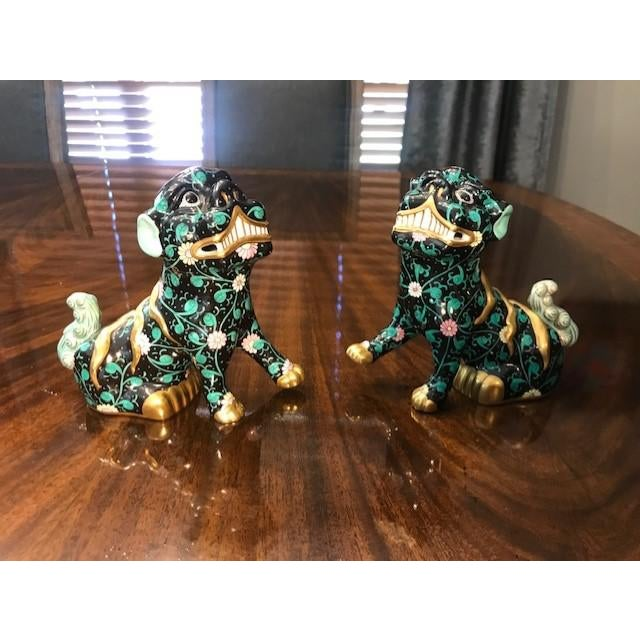 Herend Black Dynasty Foo Dog Figurines - a Pair, Chinoiserie Hollywood  Regency Style