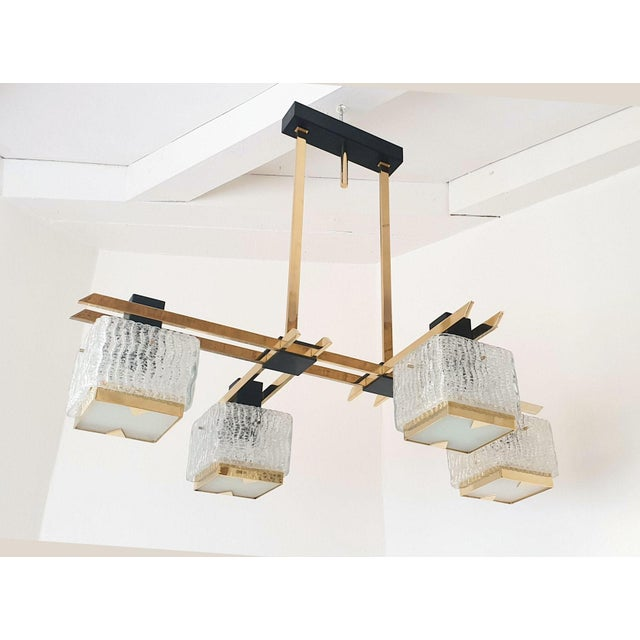 Geometric Mid Century Modern Chandelier by Maison Arlus, Circa 1950s For Sale - Image 9 of 9