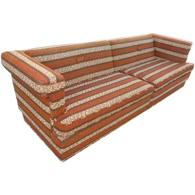 Mid-Century Modern Orange Stripped Sofa - Image 1 of 10