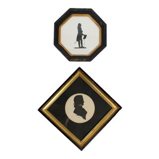 Framed 18th Century Male Silhouette Pair For Sale
