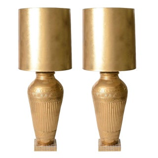 Hollywood Regency Table Lamps Ron Dier 24k Gold Glaze Ceramic Vases - a Pair For Sale