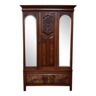 Edwardian Mahogany Single Door Armorie W/ Interior Shelves C.1910 For Sale
