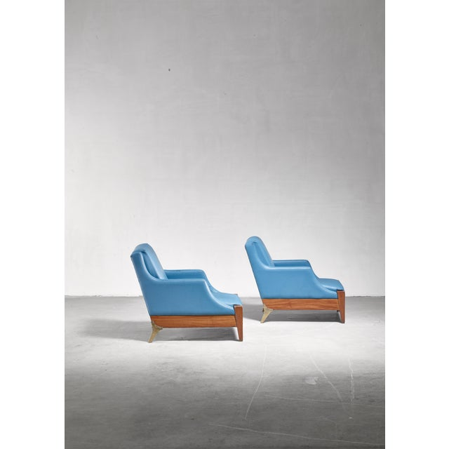 Italian Melchiorre Bega Pair of Lounge Chairs, Italy, 1940s For Sale - Image 3 of 6