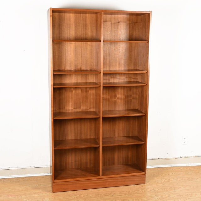 Danish Walnut 42″ Tall Bookcase W/ Adjustable Shelves For Sale - Image 4 of 9