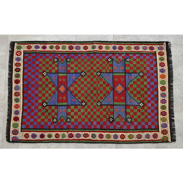 Turkish Hand Woven Wool Starry Jajim Mini Kilim Rug - 2′6″ X 3′9″ For Sale - Image 4 of 8