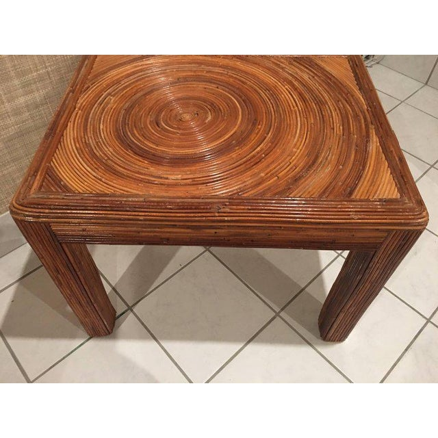 Pencil Reed Rattan Side End Table For Sale In West Palm - Image 6 of 8