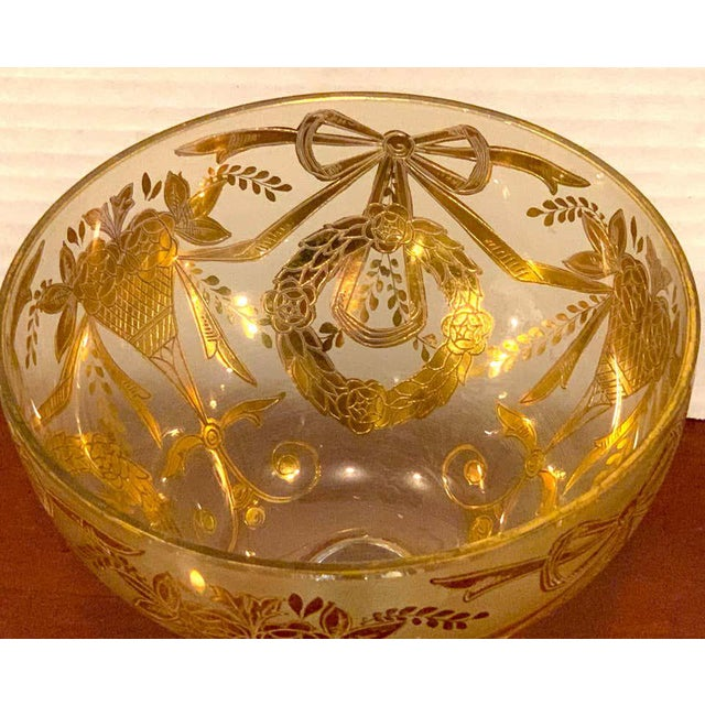 Set of Six Gilt Enameled Frosted Grand Coupes/ Dessert or Seafood For Sale - Image 10 of 11