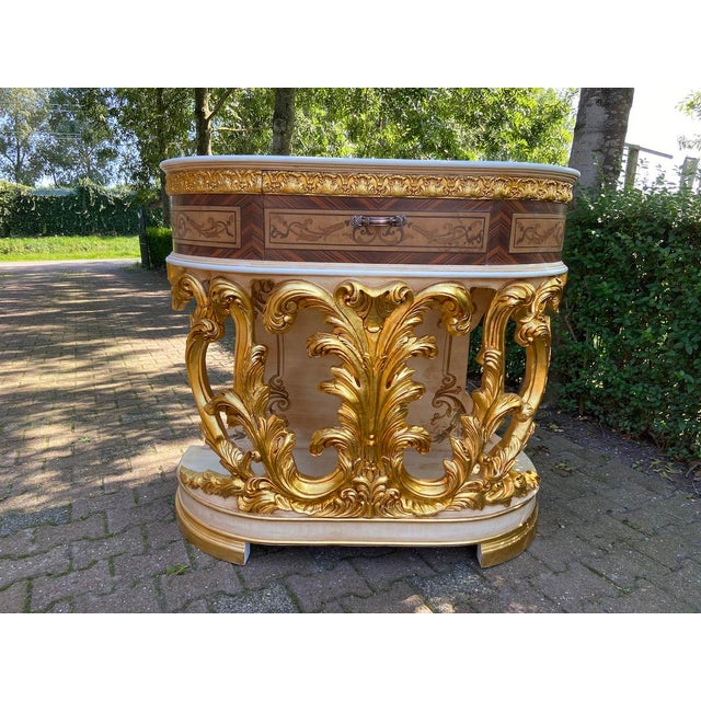 New Italian Rococo/Baroque Style Table in Gold and Brown With Wooden Top For Sale - Image 13 of 13