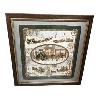 Vintage Hermes Hand Sewn and Framed L'Hiver en Poste Scarf